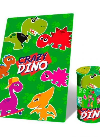 Koc polarowy Crazy Dino 50x100 cm